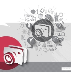 Paper and hand drawn photo camera emblem with vector image