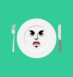 plate angry emoji empty dish isolated aggressive vector image vector image