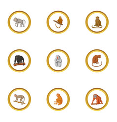 primate icons set cartoon style vector image