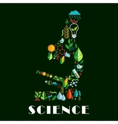 Science emblem combined of color flat icons vector image vector image