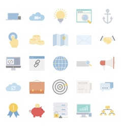 Seo and e-marketing flat icon set vector image