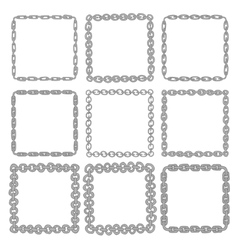 Set of 9 decorative square iron border frames vector
