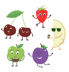 Set of funny characters from fruit vector