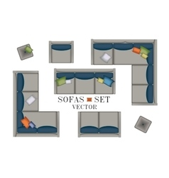 Sofas Armchair Set Furniture Pouf Carpet TV vector image vector image