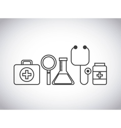 stethoscope medical kit lupe flask medicine design vector image