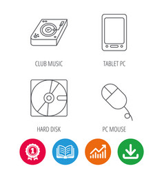 Tablet pc hard disk and pc mouse icons vector