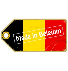 Vintage label with the flag of Belgium vector image vector image