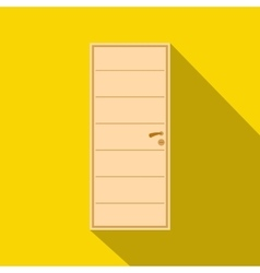 Wooden door icon flat style vector image vector image