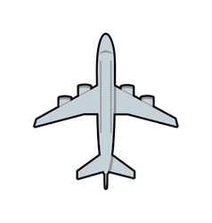 Airplane grey travel transporation icon vector