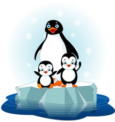 Penguin family vector
