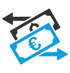 Banknotes exchange flat icon vector