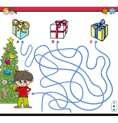 Christmas path maze activity vector