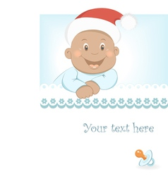 Funny christmas african baby boy vector