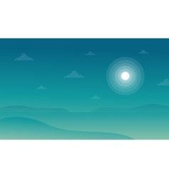 Silhouette of beach with moon landscape vector