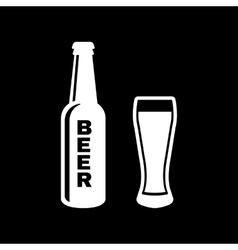 Bottle and glass of beer icon beer and pub bar vector