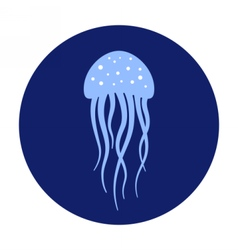 Jellyfish under water icon marine life vector