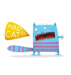 Mad pet cat funny colorful cartoon design vector
