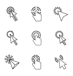 Pointer of computer icons set outline style vector