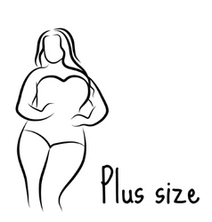 Girl silhouette sketch plus size model curvy vector