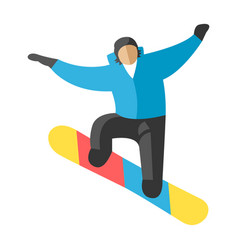 Snowboarder jump in pose people vector