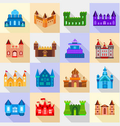 Castle tower icons set flat style vector