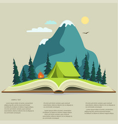 Nature in opened book camping graphics outdoo vector