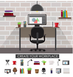 Workplace interior concept vector