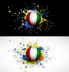 Ivory Coast flag with soccer ball dash on colorful vector image