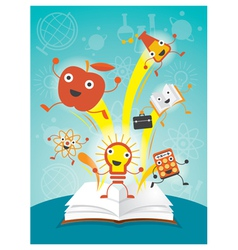 Education characters jump out book science program vector