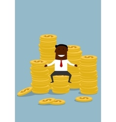 Black businessman sitting on golden coins stacks vector