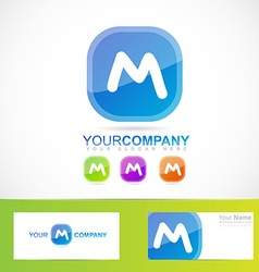 Blue letter m button vector