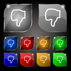 Dislike icon sign set of ten colorful buttons with vector