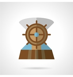 Wooden helm flat icon vector