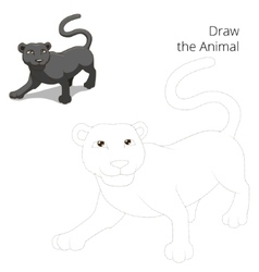 Draw animal panther educational game vector