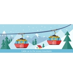 Cable car to snowy mountains design vector