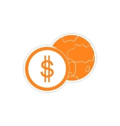 Stylish sticker on paper globe and money vector