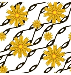 Pattern with yellow flowers and wavy lines vector