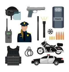Set of police objects and equipment vector