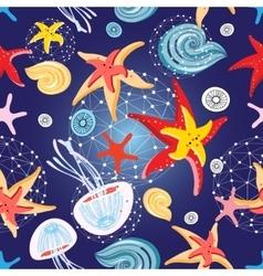 Pattern of starfish and jellyfish vector