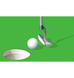 A golf ball near the hole vector image vector image