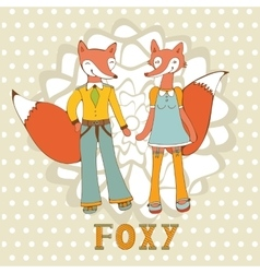 Adorable foxes couple vector image vector image