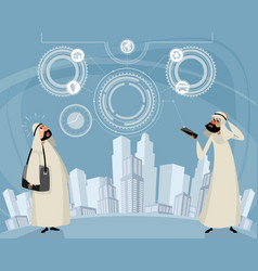 Arab men and telephone technology vector