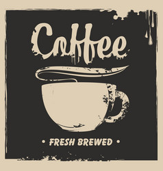 banner with a cup of hot coffee and a splash vector image