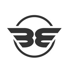 Be initials winged shape symbol design vector