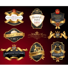 Black and gold labels vector image