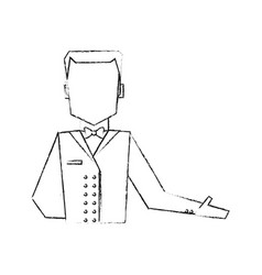 Blurred silhouette half body faceless bellboy with vector