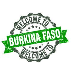 Burkina faso round ribbon seal vector