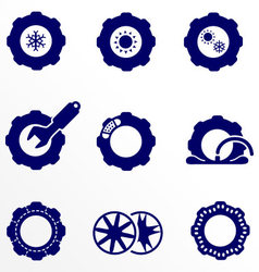 Car parts such as tires and wheels icons set vector
