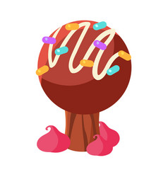 Chocolate cake tree colorful cartoon vector