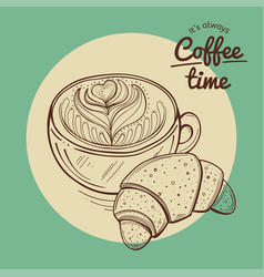 coffee cup and croissant vector image